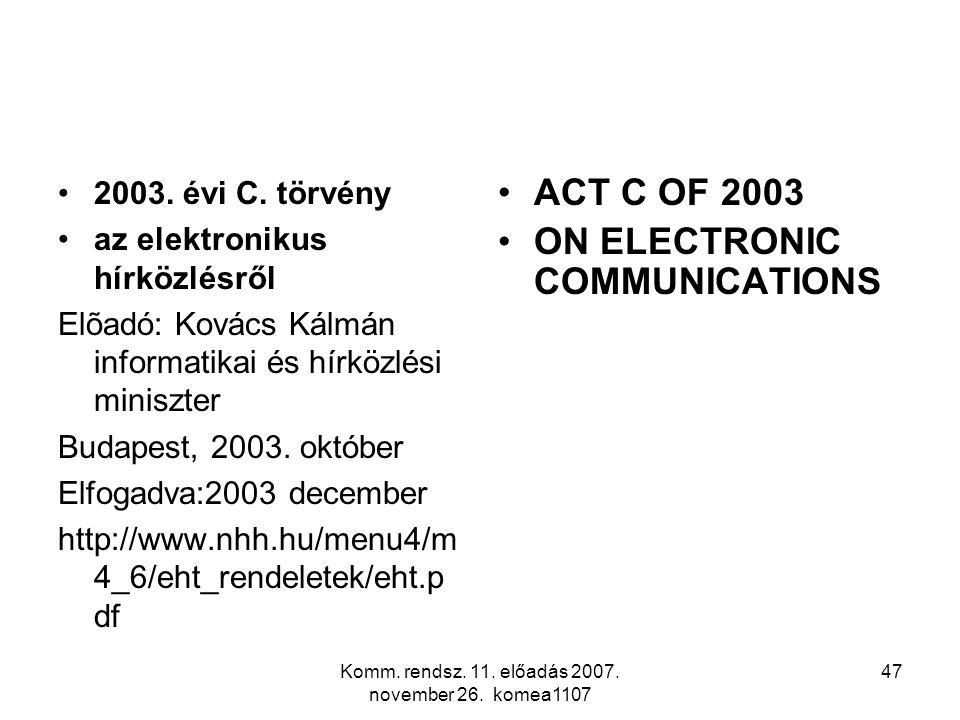 Komm. rendsz. 11. előadás 2007. november 26. komea1107 47 2003. évi C. törvény az elektronikus hírközlésről Elõadó: Kovács Kálmán informatikai és hírk