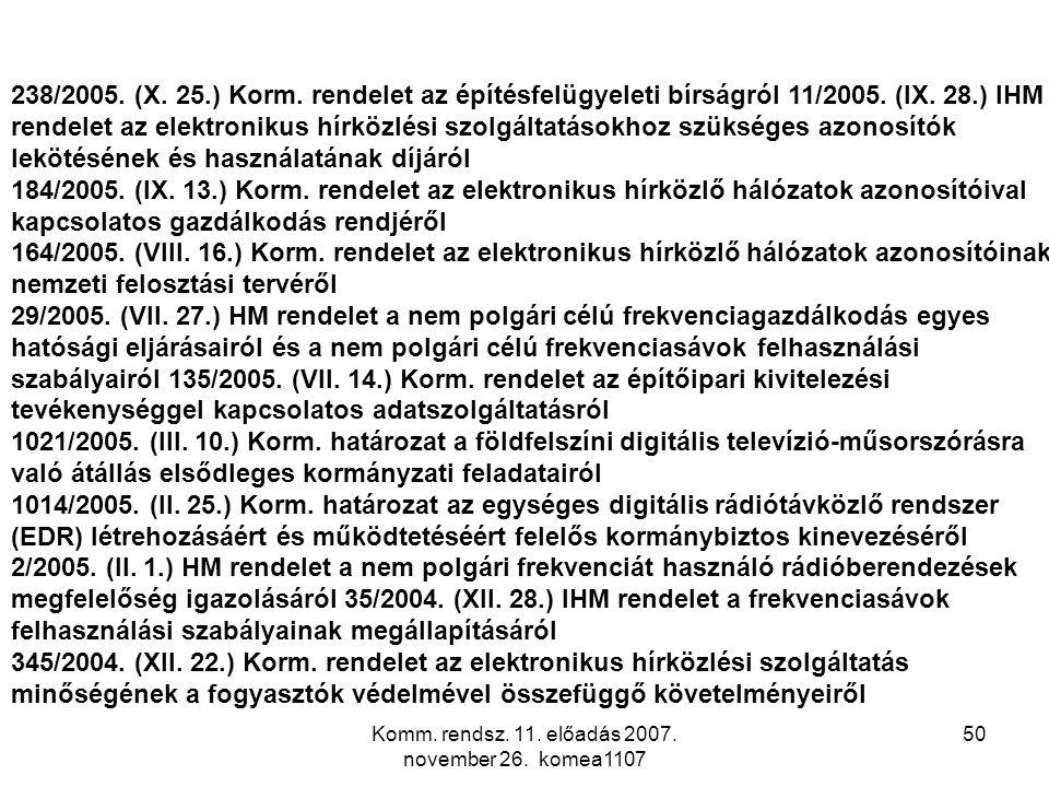 Komm. rendsz. 11. előadás 2007. november 26. komea1107 50 238/2005. (X. 25.) Korm. rendelet az építésfelügyeleti bírságról 11/2005. (IX. 28.) IHM rend