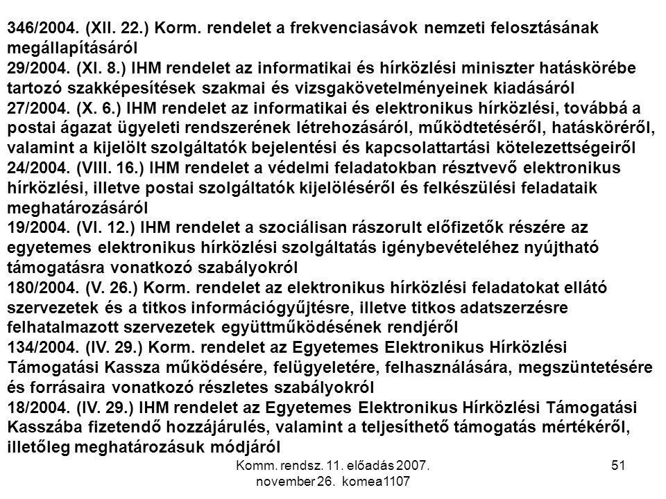 Komm. rendsz. 11. előadás 2007. november 26. komea1107 51 346/2004. (XII. 22.) Korm. rendelet a frekvenciasávok nemzeti felosztásának megállapításáról
