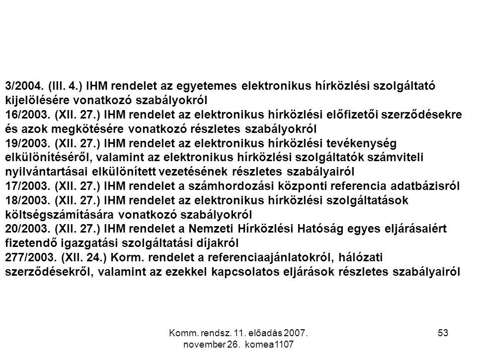 Komm. rendsz. 11. előadás 2007. november 26. komea1107 53 3/2004. (III. 4.) IHM rendelet az egyetemes elektronikus hírközlési szolgáltató kijelölésére