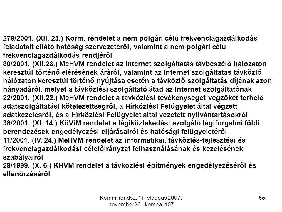 Komm. rendsz. 11. előadás 2007. november 26. komea1107 55 279/2001. (XII. 23.) Korm. rendelet a nem polgári célú frekvenciagazdálkodás feladatait ellá