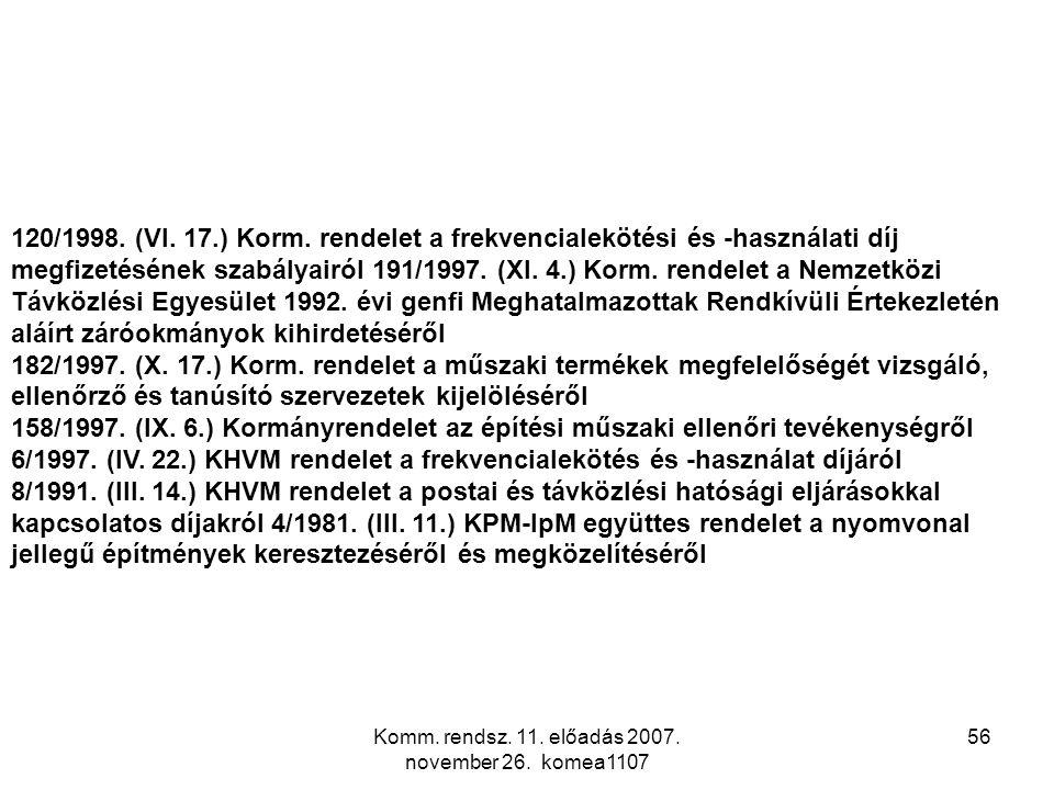 Komm. rendsz. 11. előadás 2007. november 26. komea1107 56 120/1998. (VI. 17.) Korm. rendelet a frekvencialekötési és -használati díj megfizetésének sz
