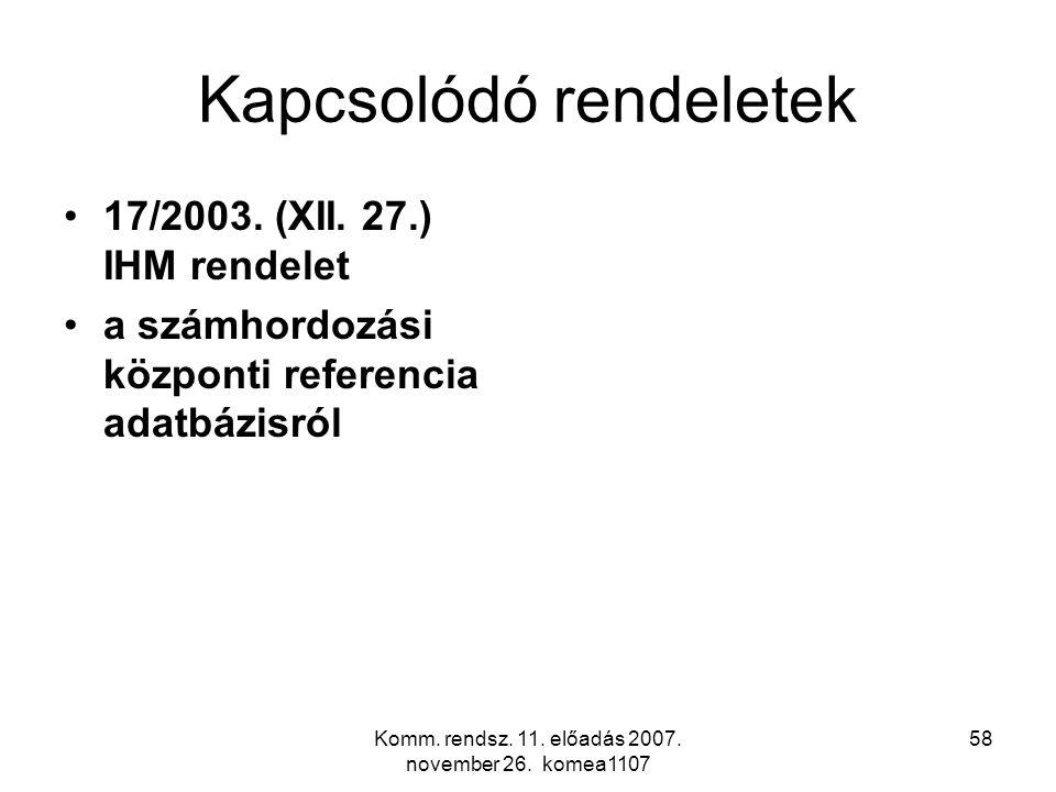 Komm. rendsz. 11. előadás 2007. november 26. komea1107 58 Kapcsolódó rendeletek 17/2003. (XII. 27.) IHM rendelet a számhordozási központi referencia a