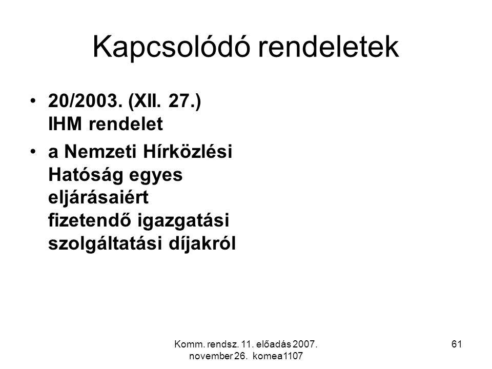Komm. rendsz. 11. előadás 2007. november 26. komea1107 61 Kapcsolódó rendeletek 20/2003. (XII. 27.) IHM rendelet a Nemzeti Hírközlési Hatóság egyes el