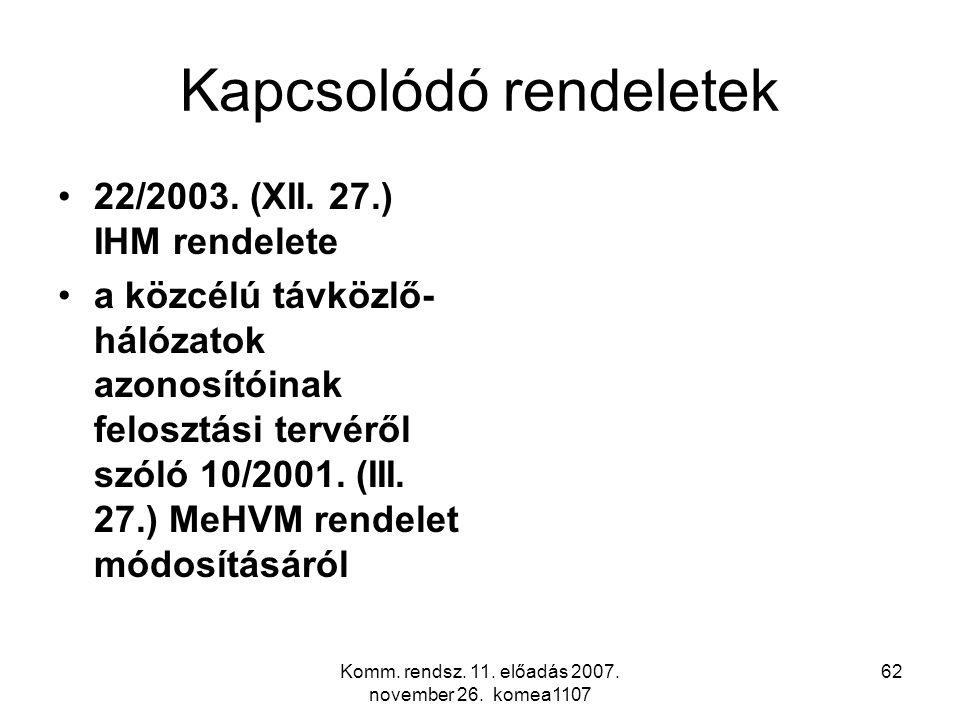 Komm. rendsz. 11. előadás 2007. november 26. komea1107 62 Kapcsolódó rendeletek 22/2003. (XII. 27.) IHM rendelete a közcélú távközlő- hálózatok azonos