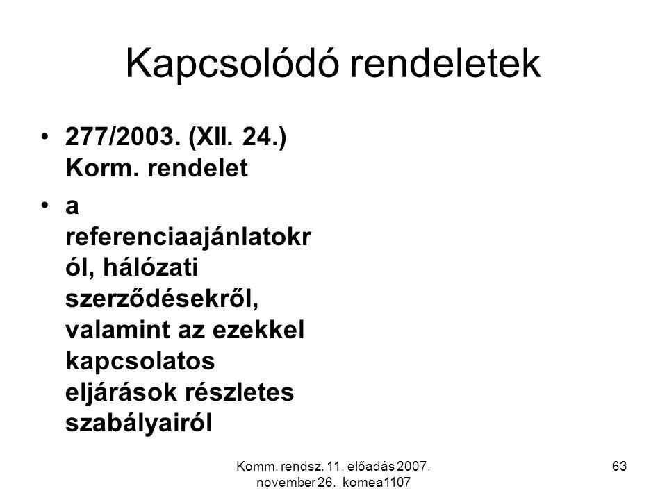 Komm. rendsz. 11. előadás 2007. november 26. komea1107 63 Kapcsolódó rendeletek 277/2003. (XII. 24.) Korm. rendelet a referenciaajánlatokr ól, hálózat