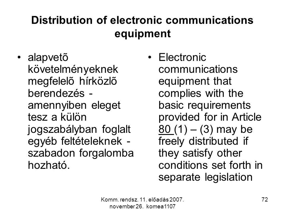 Komm. rendsz. 11. előadás 2007. november 26. komea1107 72 Distribution of electronic communications equipment alapvetõ követelményeknek megfelelõ hírk