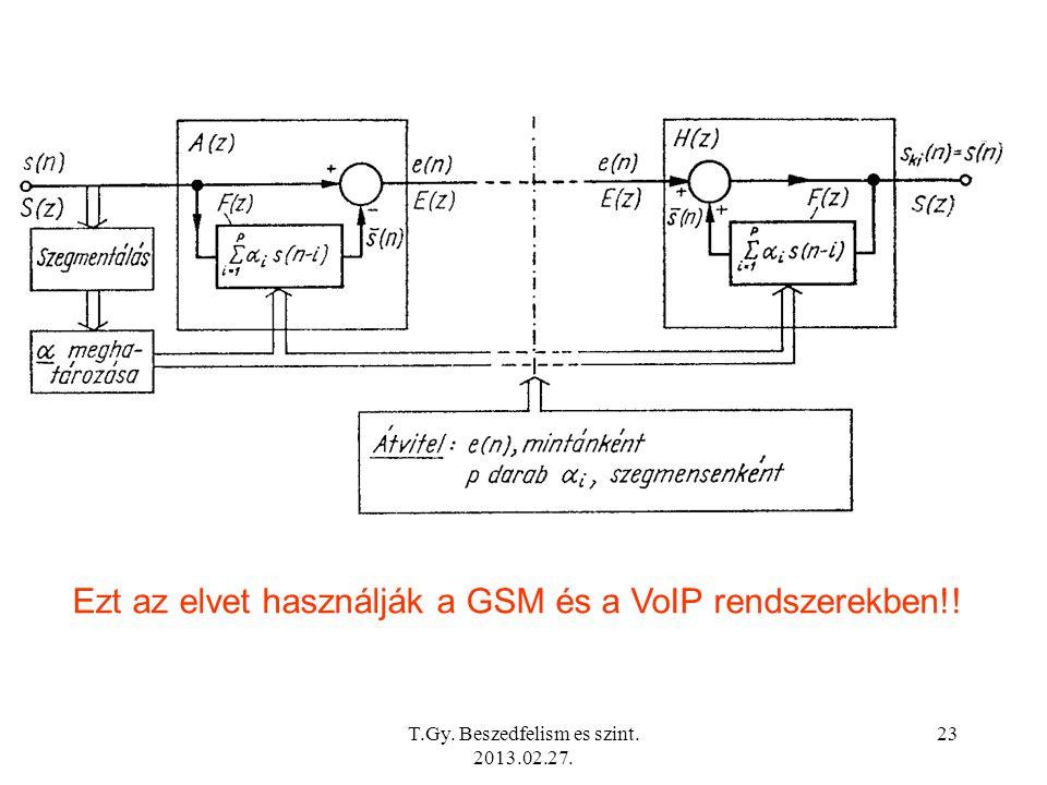 T.Gy. Beszedfelism es szint. 2013.02.27. 23 Ezt az elvet használják a GSM és a VoIP rendszerekben!!