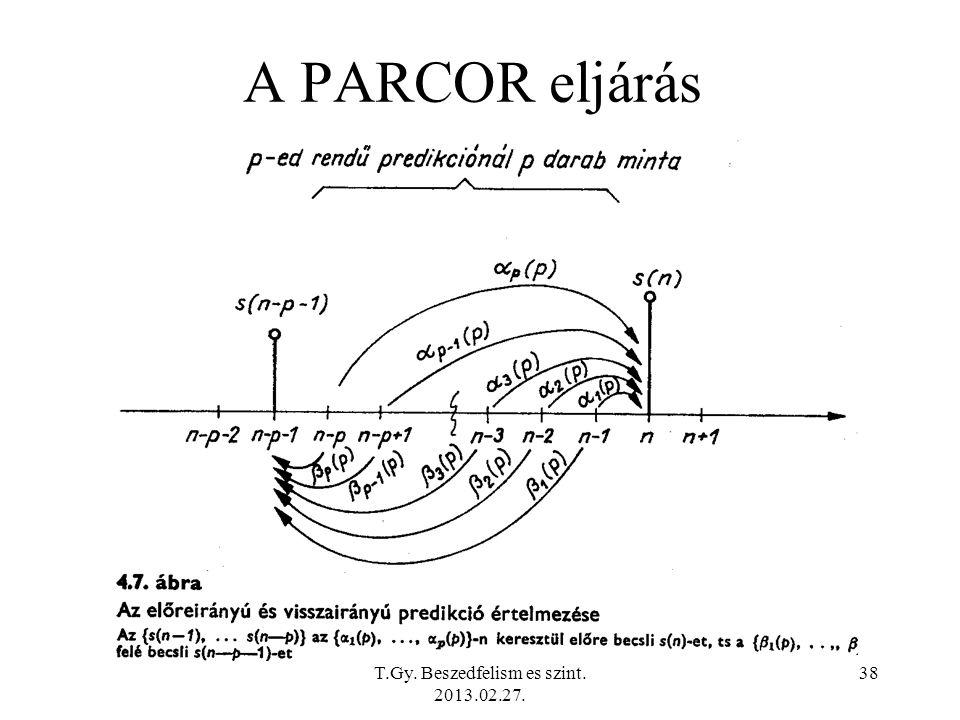 A PARCOR eljárás T.Gy. Beszedfelism es szint. 2013.02.27. 38