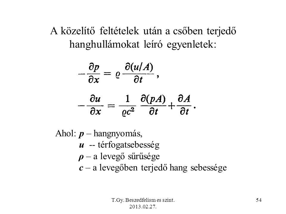 A közelítő feltételek után a csőben terjedő hanghullámokat leíró egyenletek: Ahol: p – hangnyomás, u -- térfogatsebesség ρ – a levegő sűrűsége c – a levegőben terjedő hang sebessége T.Gy.