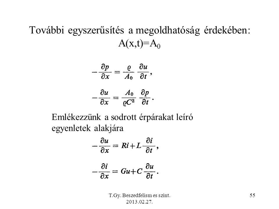 További egyszerűsítés a megoldhatóság érdekében: A(x,t)=A 0 Emlékezzünk a sodrott érpárakat leíró egyenletek alakjára T.Gy.