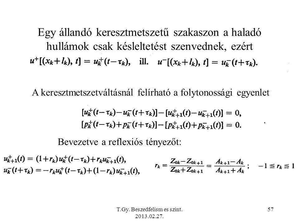 Egy állandó keresztmetszetű szakaszon a haladó hullámok csak késleltetést szenvednek, ezért A keresztmetszetváltásnál felírható a folytonossági egyenlet Bevezetve a reflexiós tényezőt: T.Gy.