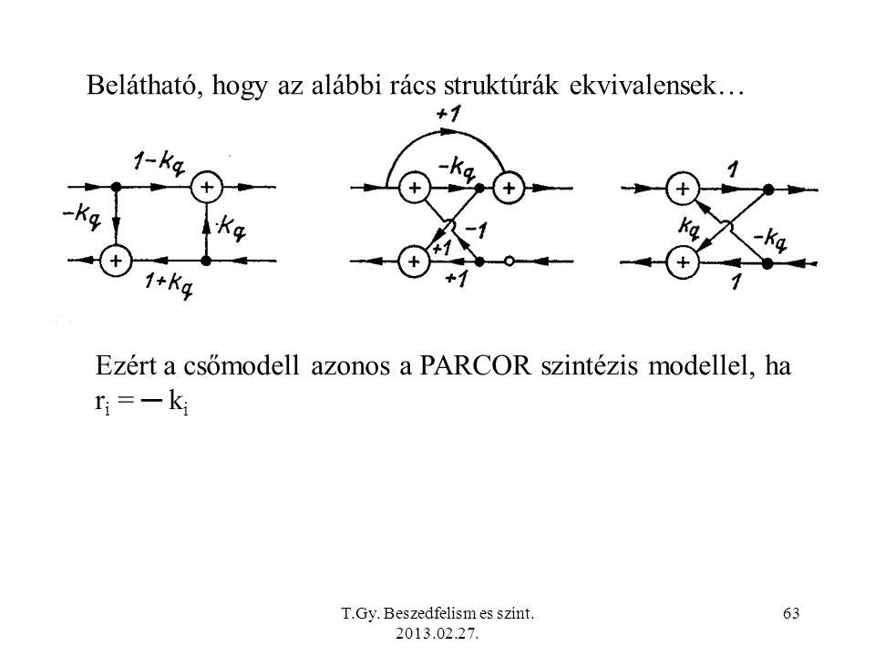 Belátható, hogy az alábbi rács struktúrák ekvivalensek… Ezért a csőmodell azonos a PARCOR szintézis modellel, ha r i = ─ k i T.Gy.