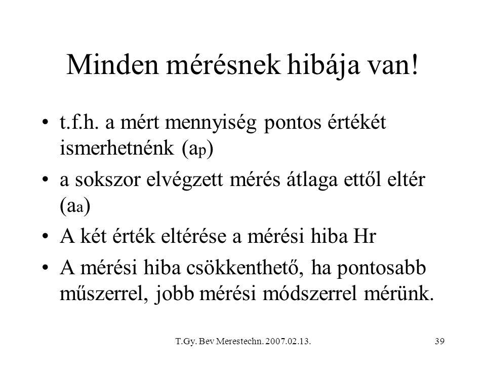 T.Gy. Bev Merestechn. 2007.02.13.39 Minden mérésnek hibája van! t.f.h. a mért mennyiség pontos értékét ismerhetnénk (a p ) a sokszor elvégzett mérés á
