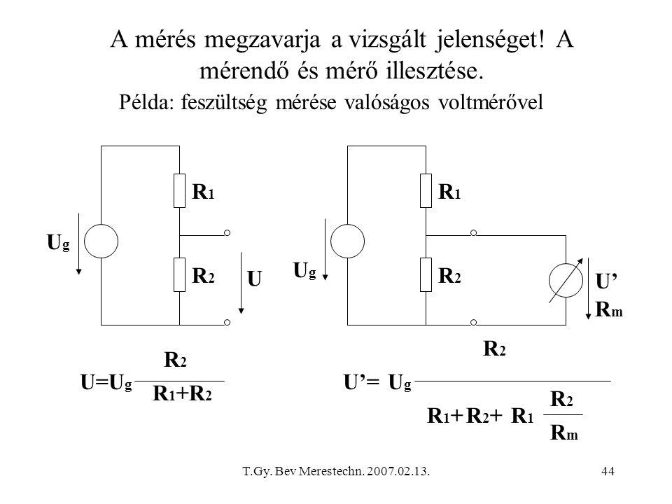T.Gy. Bev Merestechn. 2007.02.13.44 A mérés megzavarja a vizsgált jelenséget! A mérendő és mérő illesztése. Példa: feszültség mérése valóságos voltmér