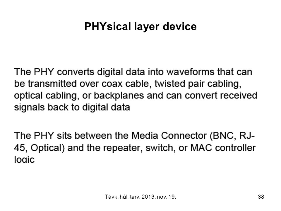 Távk. hál. terv. 2013. nov. 19.38 PHYsical layer device