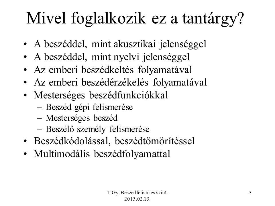 T.Gy. Beszedfelism es szint. 2013.02.13. 3 Mivel foglalkozik ez a tantárgy.