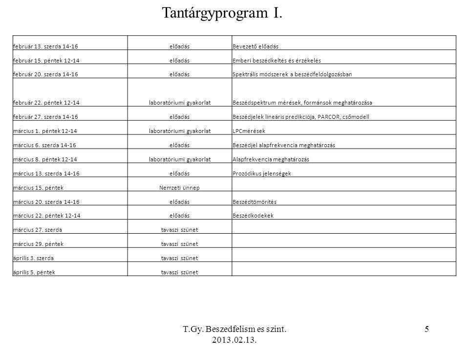 T.Gy. Beszedfelism es szint. 2013.02.13. 5 Tantárgyprogram I.