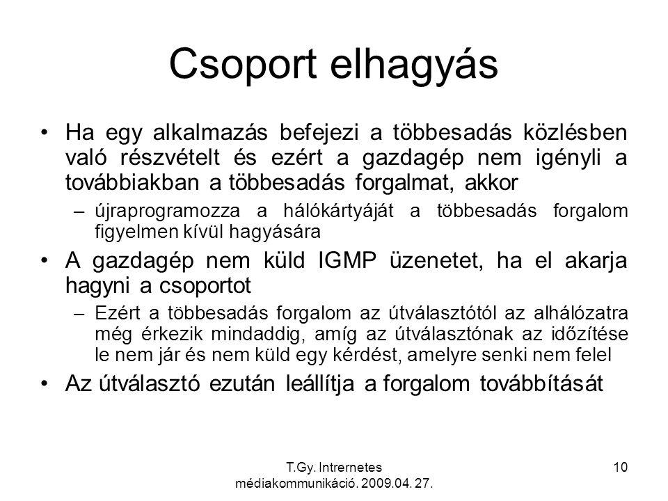 T.Gy. Intrernetes médiakommunikáció. 2009.04. 27. 10 Csoport elhagyás Ha egy alkalmazás befejezi a többesadás közlésben való részvételt és ezért a gaz