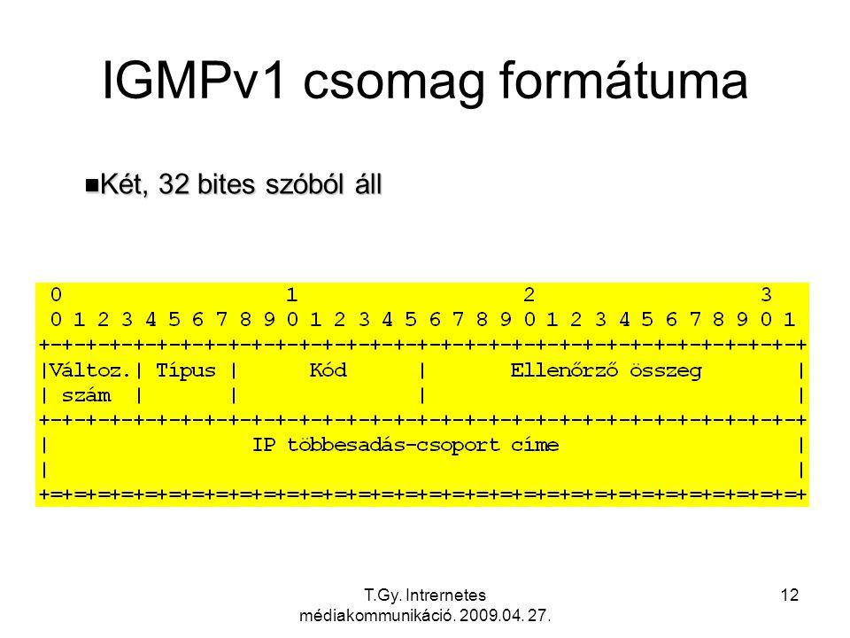 T.Gy. Intrernetes médiakommunikáció. 2009.04. 27. 12 IGMPv1 csomag formátuma n Két, 32 bites szóból áll