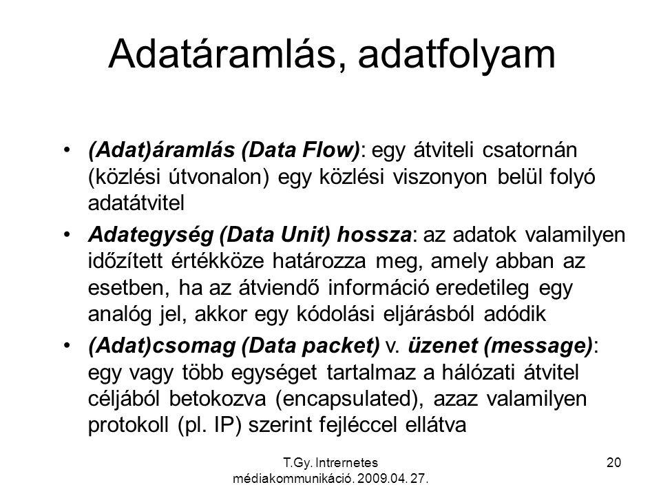 T.Gy. Intrernetes médiakommunikáció. 2009.04. 27. 20 Adatáramlás, adatfolyam (Adat)áramlás (Data Flow): egy átviteli csatornán (közlési útvonalon) egy