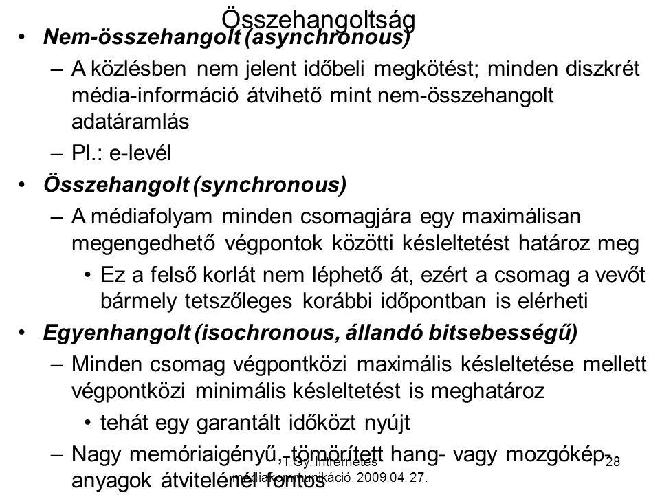 T.Gy. Intrernetes médiakommunikáció. 2009.04. 27. 28 Összehangoltság Nem-összehangolt (asynchronous) –A közlésben nem jelent időbeli megkötést; minden