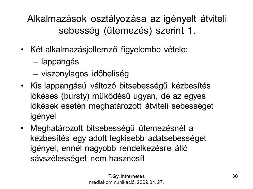 T.Gy. Intrernetes médiakommunikáció. 2009.04. 27. 30 Alkalmazások osztályozása az igényelt átviteli sebesség (ütemezés) szerint 1. Két alkalmazásjelle