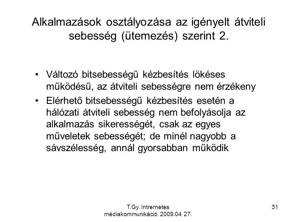 T.Gy. Intrernetes médiakommunikáció. 2009.04. 27. 31 Alkalmazások osztályozása az igényelt átviteli sebesség (ütemezés) szerint 2. Változó bitsebesség