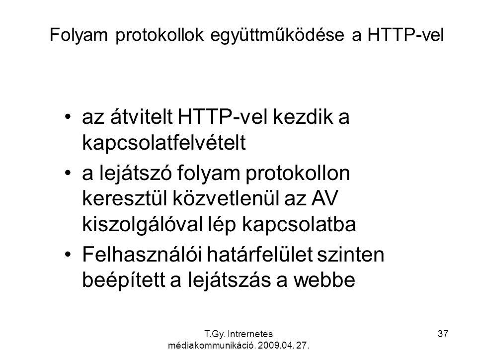 T.Gy. Intrernetes médiakommunikáció. 2009.04. 27. 37 Folyam protokollok együttműködése a HTTP-vel az átvitelt HTTP-vel kezdik a kapcsolatfelvételt a l