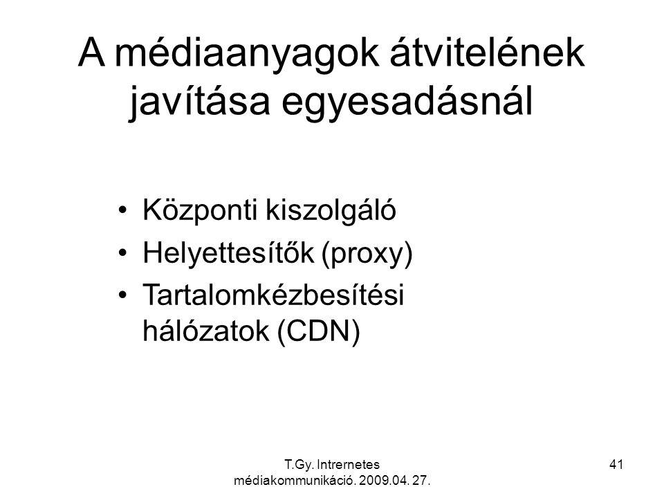 T.Gy. Intrernetes médiakommunikáció. 2009.04. 27. 41 A médiaanyagok átvitelének javítása egyesadásnál Központi kiszolgáló Helyettesítők (proxy) Tartal