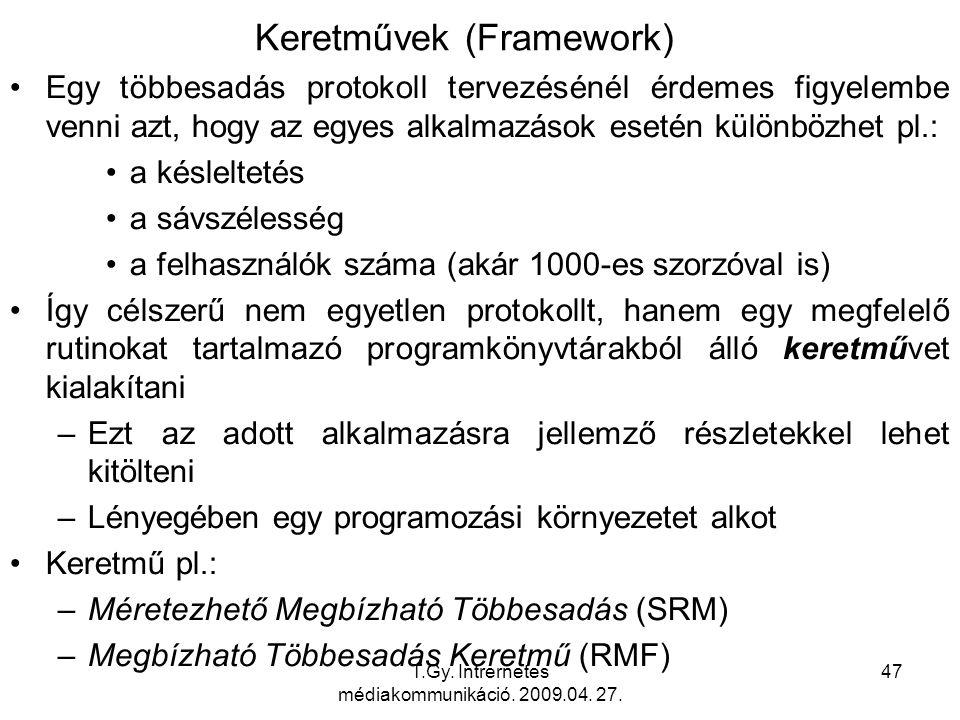 T.Gy. Intrernetes médiakommunikáció. 2009.04. 27. 47 Keretművek (Framework) Egy többesadás protokoll tervezésénél érdemes figyelembe venni azt, hogy a