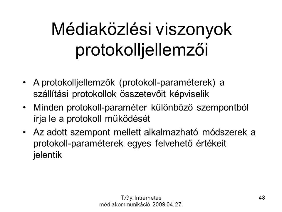 T.Gy. Intrernetes médiakommunikáció. 2009.04. 27. 48 Médiaközlési viszonyok protokolljellemzői A protokolljellemzők (protokoll-paraméterek) a szállítá