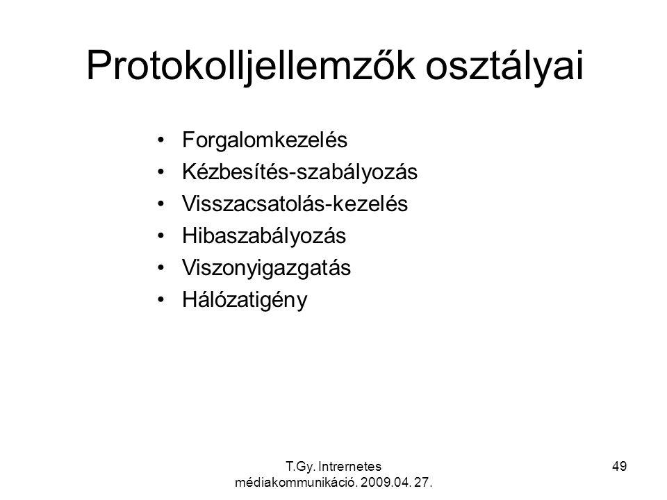 T.Gy. Intrernetes médiakommunikáció. 2009.04. 27. 49 Protokolljellemzők osztályai Forgalomkezelés Kézbesítés-szabályozás Visszacsatolás-kezelés Hibasz