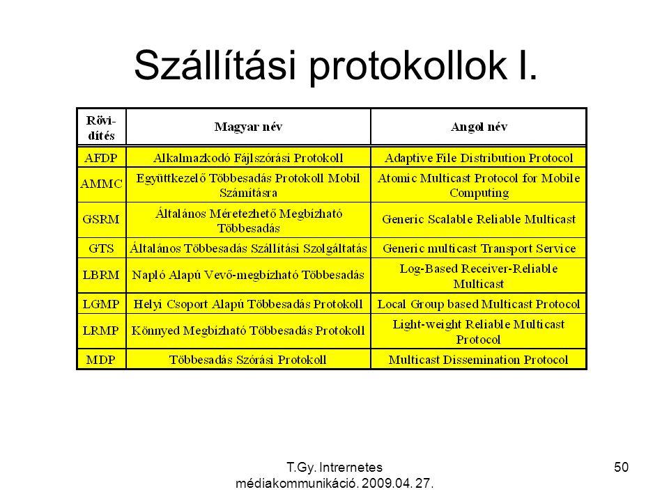 T.Gy. Intrernetes médiakommunikáció. 2009.04. 27. 50 Szállítási protokollok I.