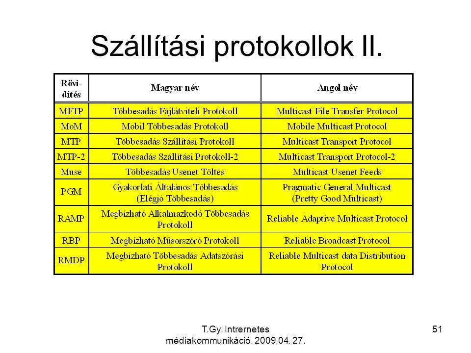 T.Gy. Intrernetes médiakommunikáció. 2009.04. 27. 51 Szállítási protokollok II.