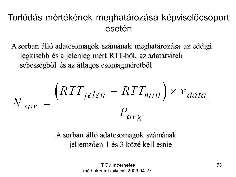 T.Gy. Intrernetes médiakommunikáció. 2009.04. 27. 58 Torlódás mértékének meghatározása képviselőcsoport esetén A sorban álló adatcsomagok számának meg
