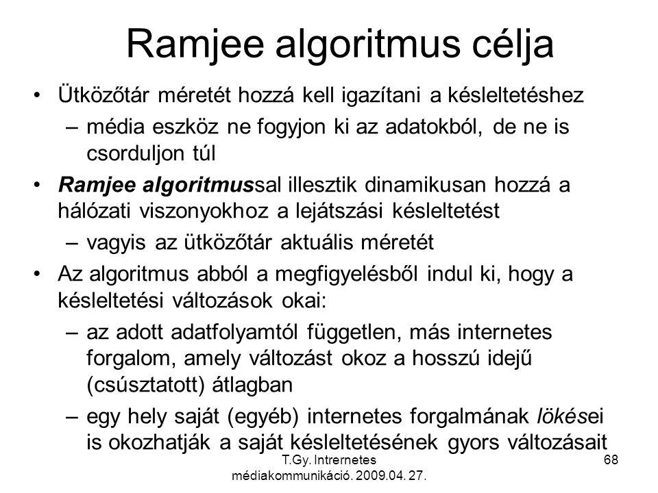 T.Gy. Intrernetes médiakommunikáció. 2009.04. 27. 68 Ramjee algoritmus célja Ütközőtár méretét hozzá kell igazítani a késleltetéshez –média eszköz ne