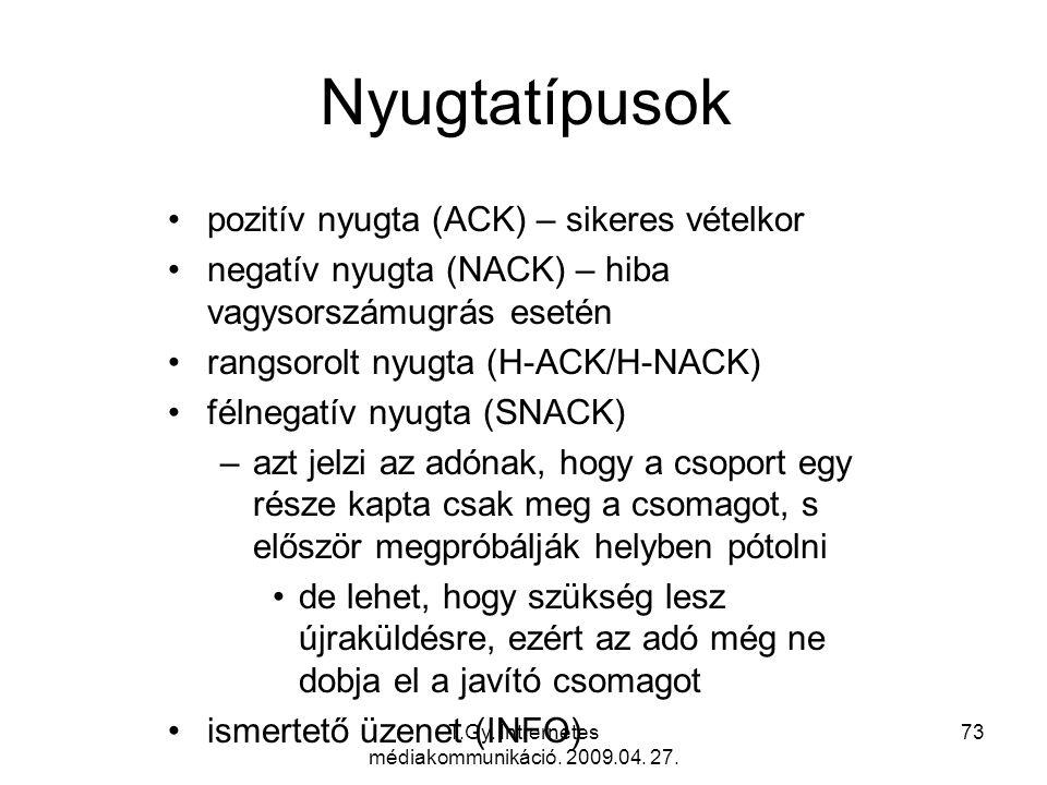 T.Gy. Intrernetes médiakommunikáció. 2009.04. 27. 73 Nyugtatípusok pozitív nyugta (ACK) – sikeres vételkor negatív nyugta (NACK) – hiba vagysorszámugr