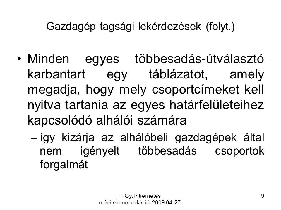 T.Gy. Intrernetes médiakommunikáció. 2009.04. 27. 70