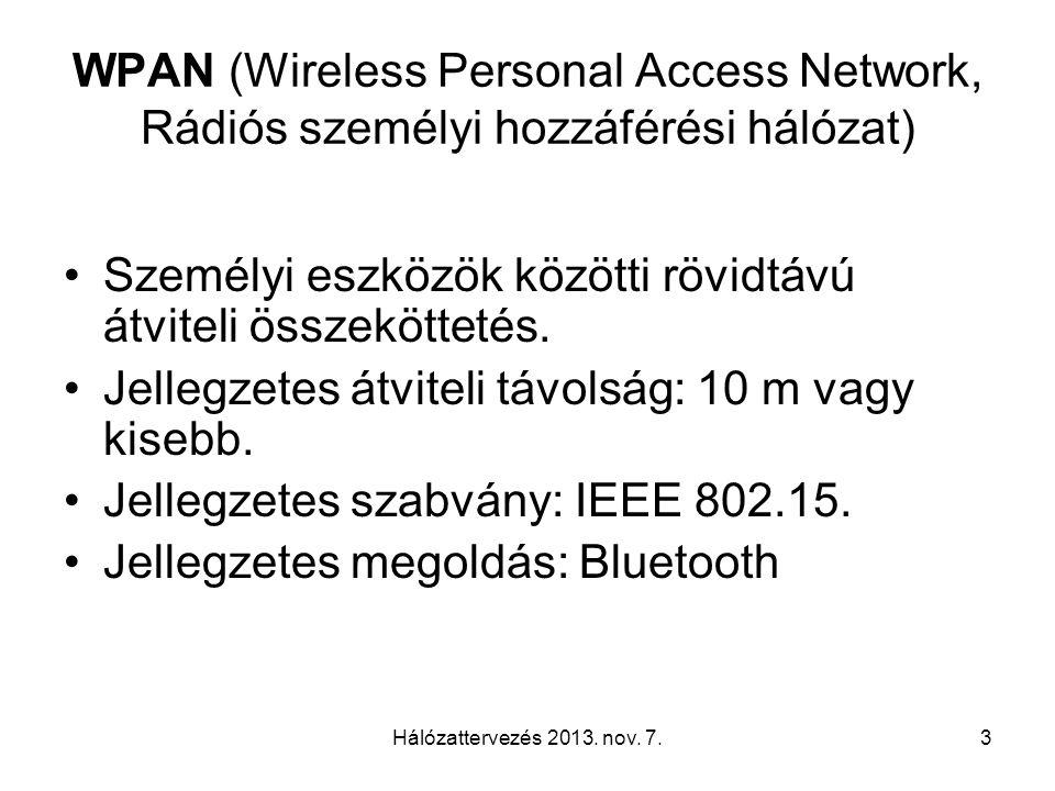 3 WPAN (Wireless Personal Access Network, Rádiós személyi hozzáférési hálózat) Személyi eszközök közötti rövidtávú átviteli összeköttetés.
