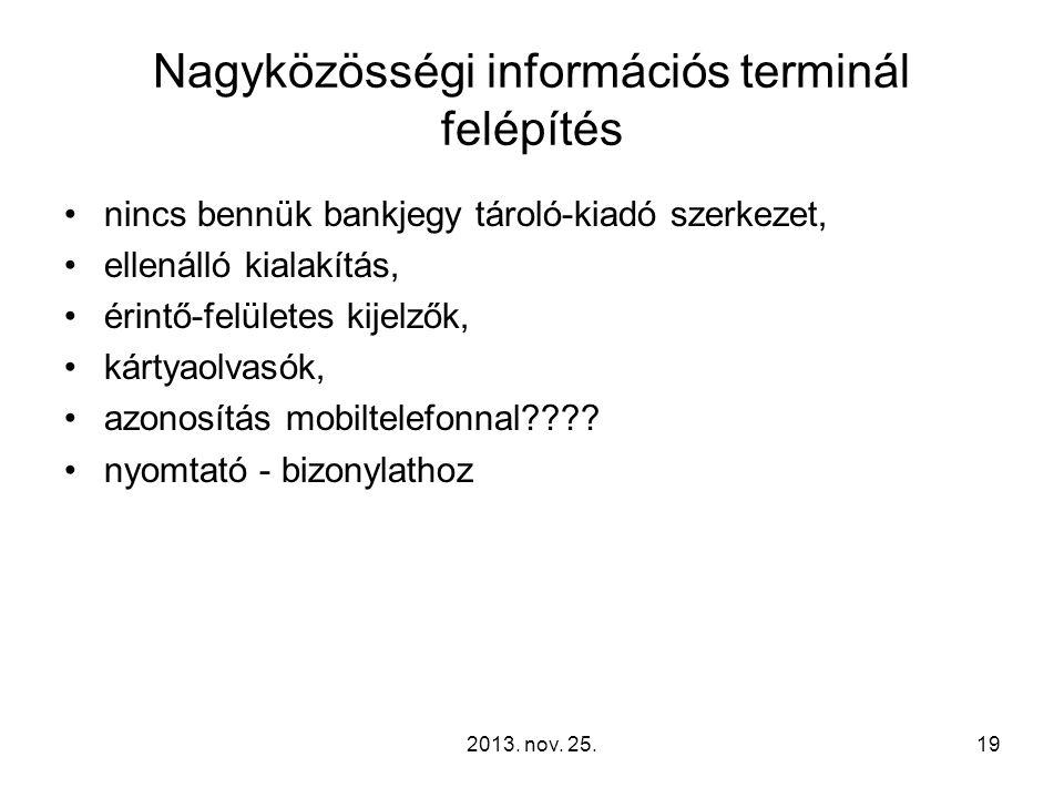2013. nov. 25.19 Nagyközösségi információs terminál felépítés nincs bennük bankjegy tároló-kiadó szerkezet, ellenálló kialakítás, érintő-felületes kij