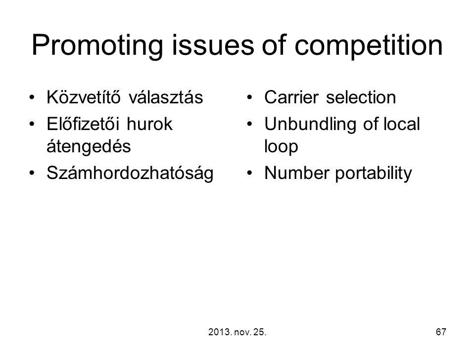 2013. nov. 25.67 Promoting issues of competition Közvetítő választás Előfizetői hurok átengedés Számhordozhatóság Carrier selection Unbundling of loca