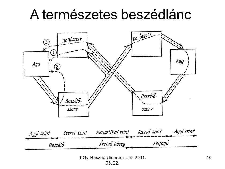 T.Gy. Beszedfelism es szint. 2011. 03. 22. 10 A természetes beszédlánc
