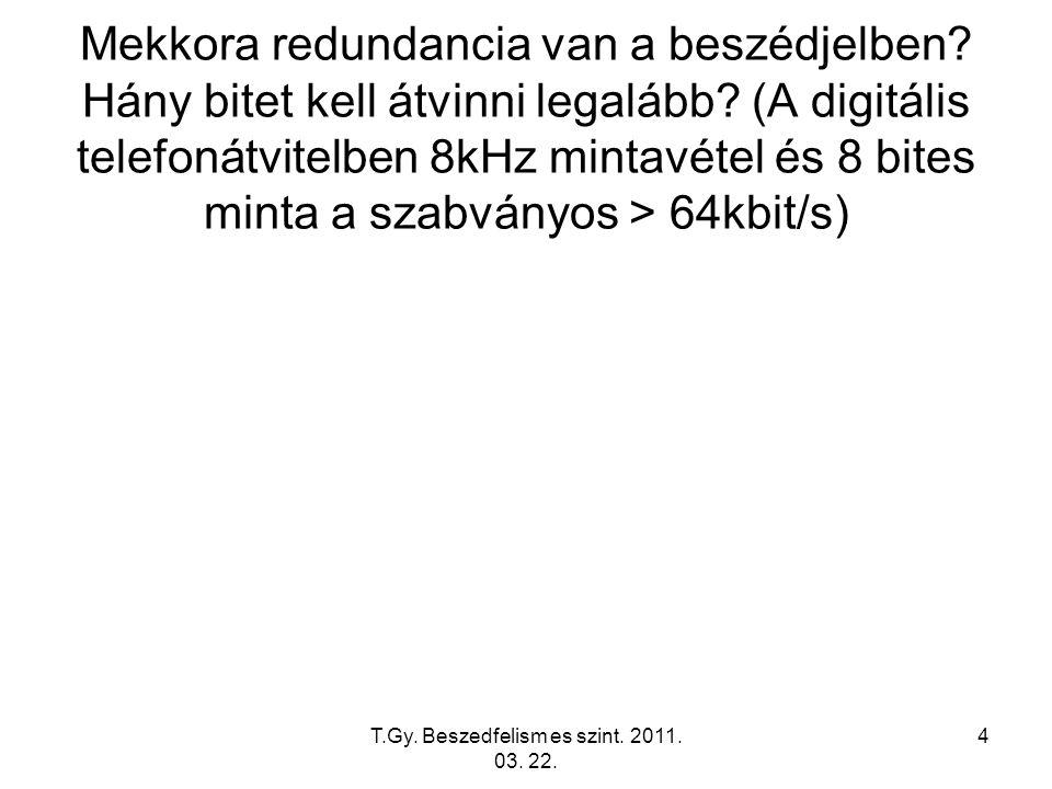T.Gy. Beszedfelism es szint. 2011. 03. 22. 4 Mekkora redundancia van a beszédjelben.