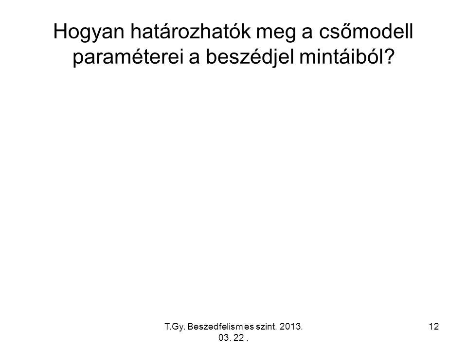 T.Gy. Beszedfelism es szint. 2013. 03. 22. 12 Hogyan határozhatók meg a csőmodell paraméterei a beszédjel mintáiból?