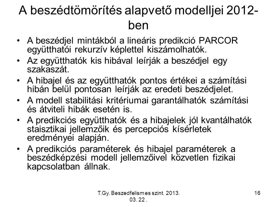 T.Gy. Beszedfelism es szint. 2013. 03. 22. 16 A beszédtömörítés alapvető modelljei 2012- ben A beszédjel mintákból a lineáris predikció PARCOR együtth