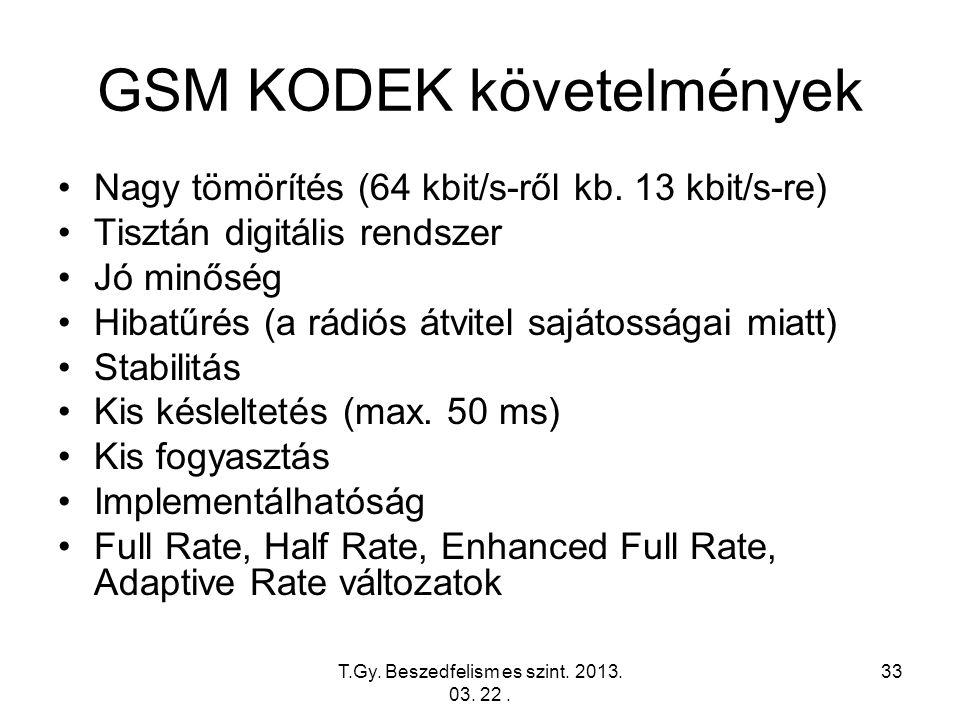 T.Gy. Beszedfelism es szint. 2013. 03. 22. 33 GSM KODEK követelmények Nagy tömörítés (64 kbit/s-ről kb. 13 kbit/s-re) Tisztán digitális rendszer Jó mi