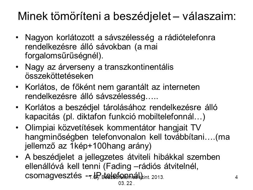 T.Gy. Beszedfelism es szint. 2013. 03. 22. 4 Minek tömöríteni a beszédjelet – válaszaim: Nagyon korlátozott a sávszélesség a rádiótelefonra rendelkezé