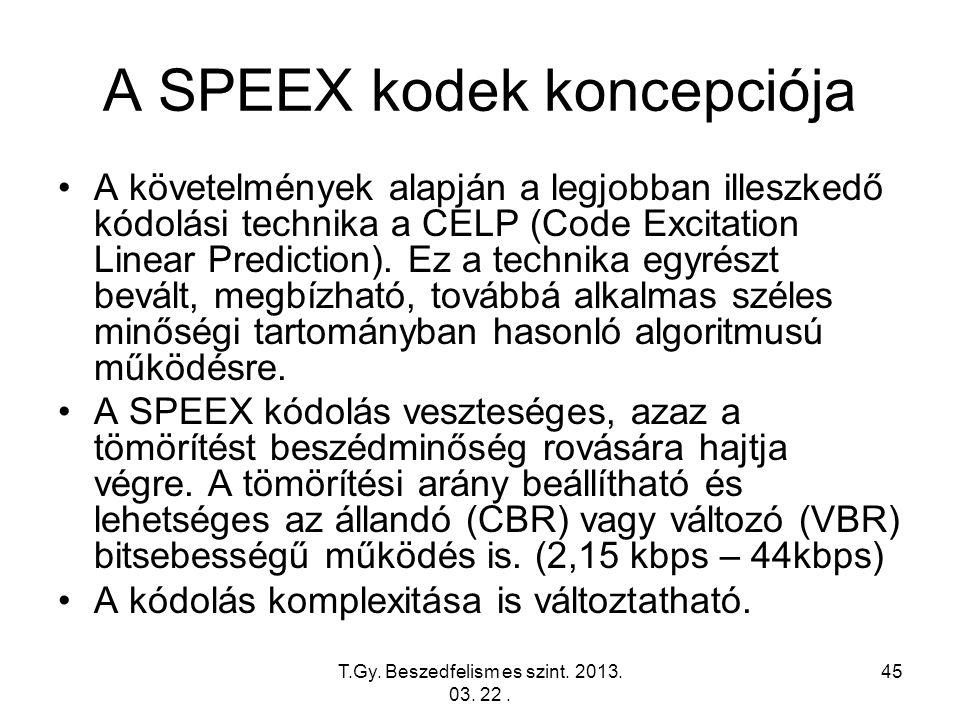 T.Gy. Beszedfelism es szint. 2013. 03. 22. 45 A SPEEX kodek koncepciója A követelmények alapján a legjobban illeszkedő kódolási technika a CELP (Code