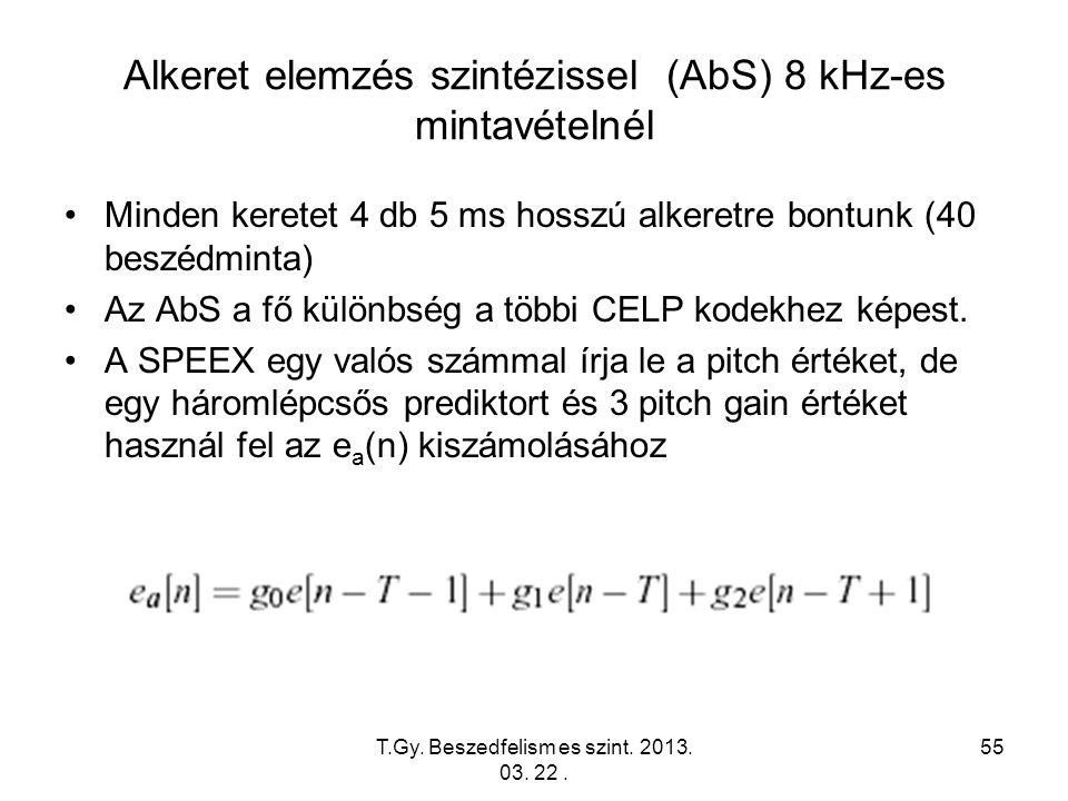 T.Gy. Beszedfelism es szint. 2013. 03. 22. 55 Alkeret elemzés szintézissel (AbS) 8 kHz-es mintavételnél Minden keretet 4 db 5 ms hosszú alkeretre bont